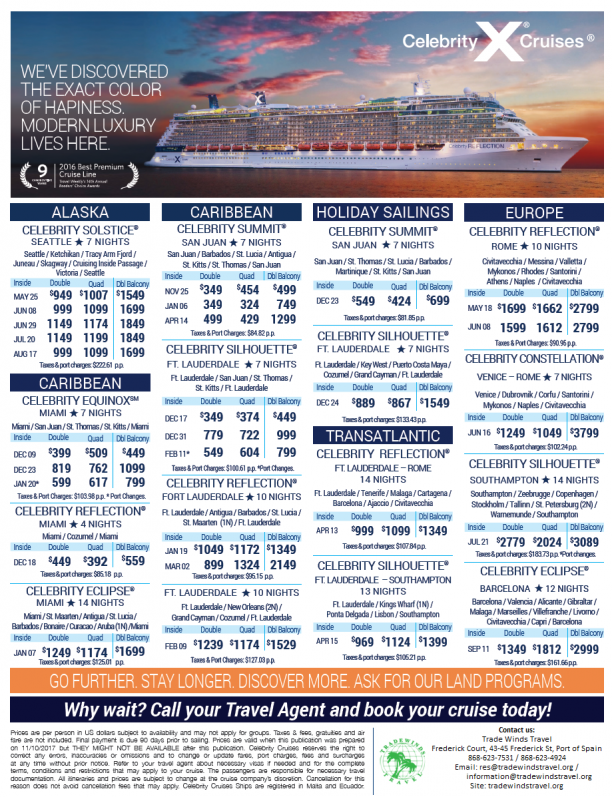 Trade Winds Travel Specials - Cruises with airfare